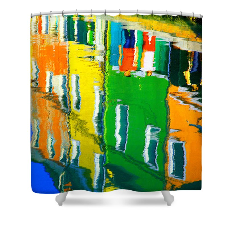 Burano Shower Curtain featuring the pastel Burano Reflections by Donna Corless