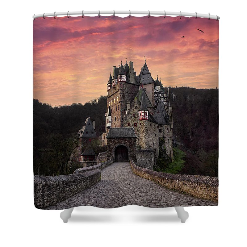 Castle Shower Curtain Featuring The Photograph Burg Eltz At Sunrise By Martin Podt