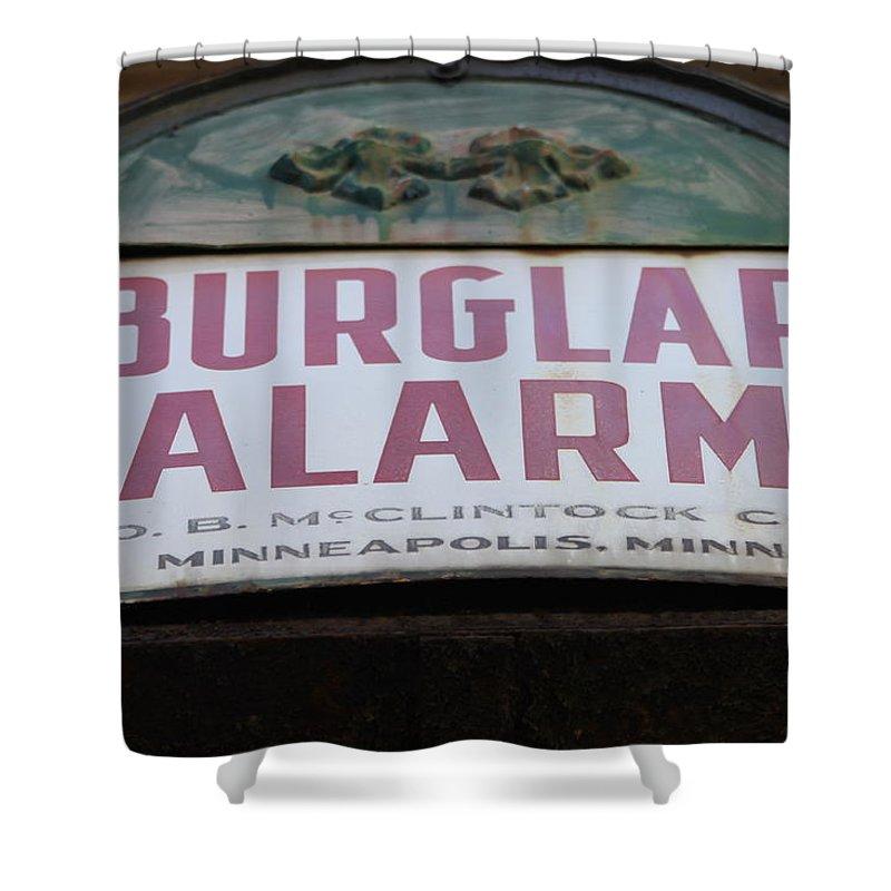 Burglar Alarm Shower Curtain featuring the photograph Burglar Alarm by Lauri Novak