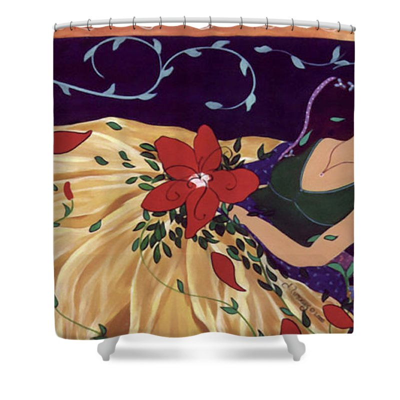 #female #figurative #painter #fineart #art #images #painting #artist #burieddreams Shower Curtain featuring the painting Buried Dreams by Jacquelinemari