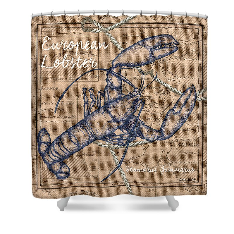 Lobster Shower Curtain Featuring The Mixed Media Burlap By Debbie DeWitt