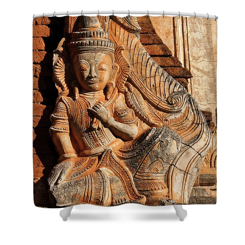 Asia Shower Curtain featuring the photograph Burmese Pagoda Sculpture by Michele Burgess