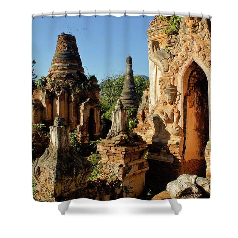 Asia Shower Curtain featuring the photograph Burmese Pagodas In Ruins by Michele Burgess