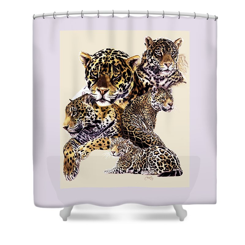 Jaguar Shower Curtain featuring the drawing Burn by Barbara Keith