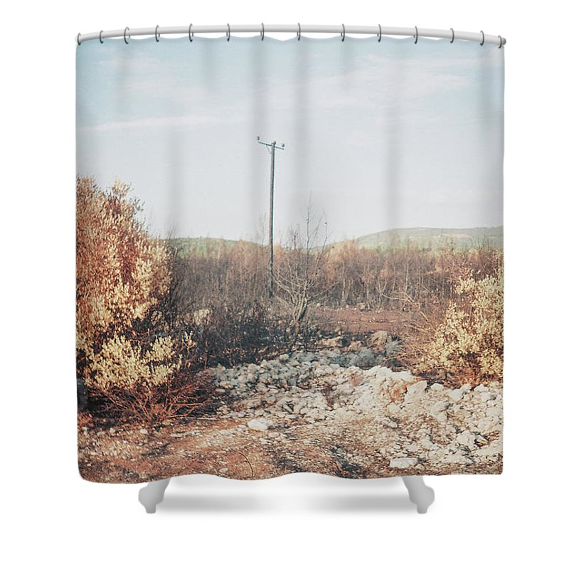 Earth Shower Curtain featuring the photograph Burned Landscape by Dimitris Tamvakos