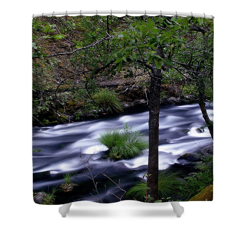 River Shower Curtain featuring the photograph Burney Creek by Peter Piatt