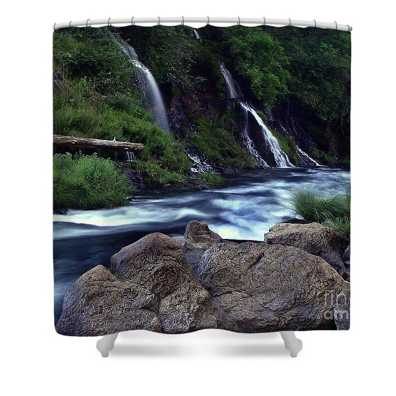 River Shower Curtain featuring the photograph Burney Falls Creek by Peter Piatt