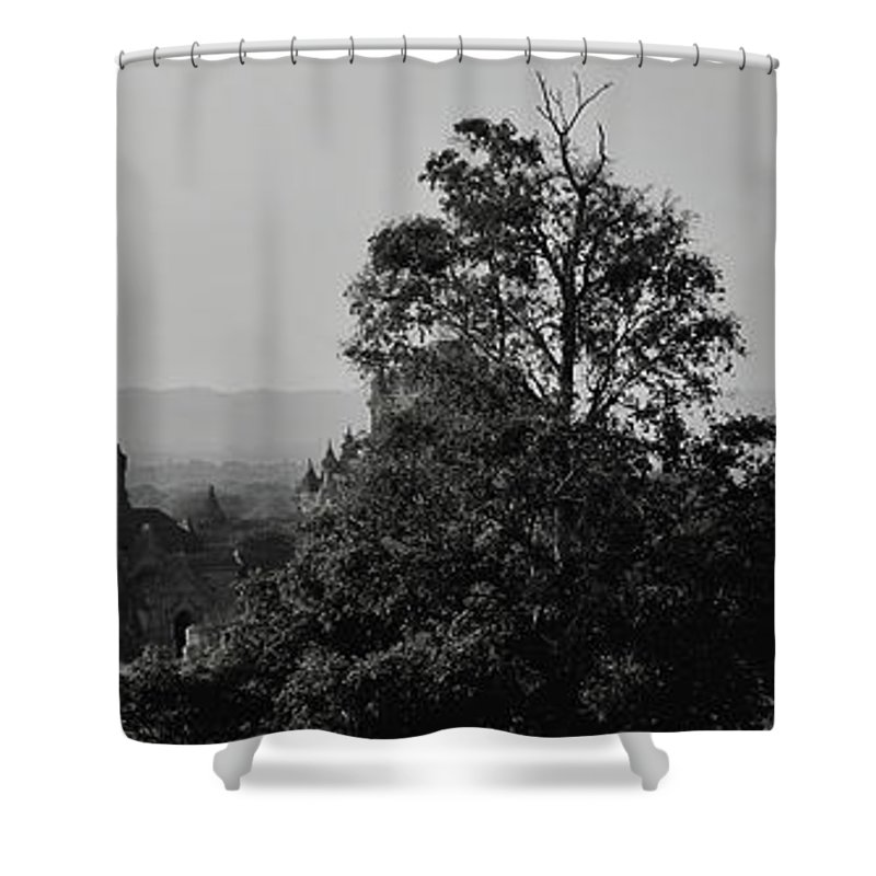 Landscape Shower Curtain featuring the photograph Burning Bagan by Sascha Huber