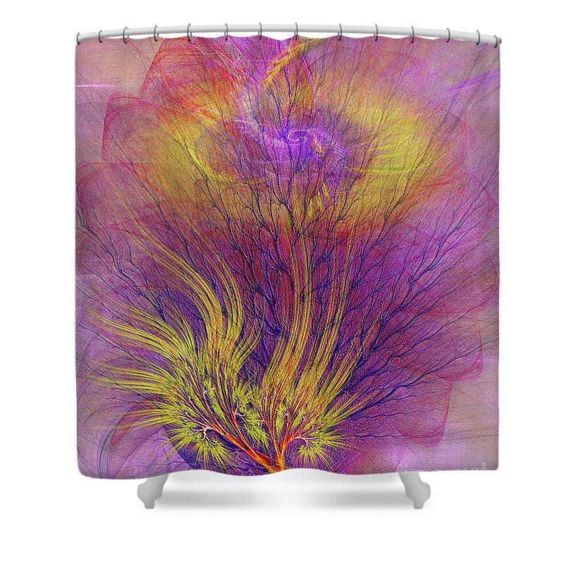 Burning Bush Shower Curtain featuring the digital art Burning Bush by John Beck