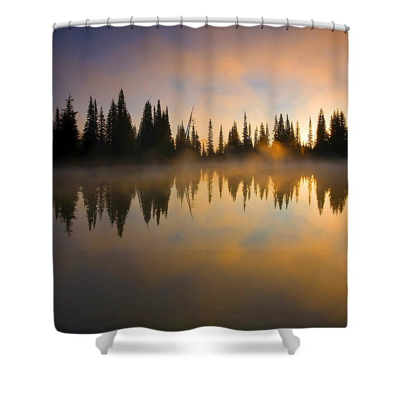 Lake Shower Curtain featuring the photograph Burning Dawn by Mike Dawson