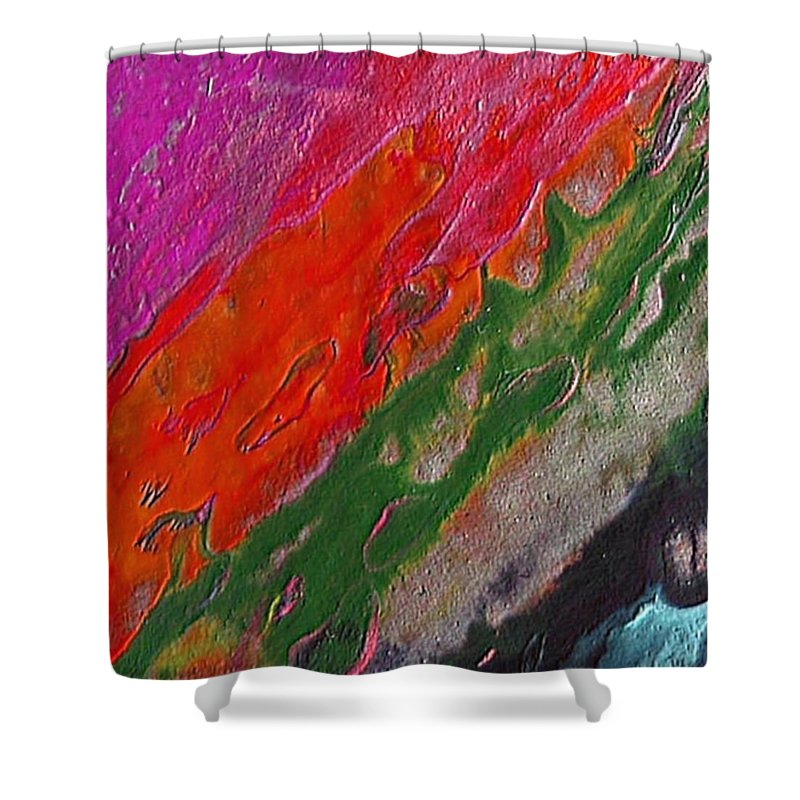 Abstract Encaustic Painting Shower Curtain featuring the painting Burning Lava by Dragica Micki Fortuna