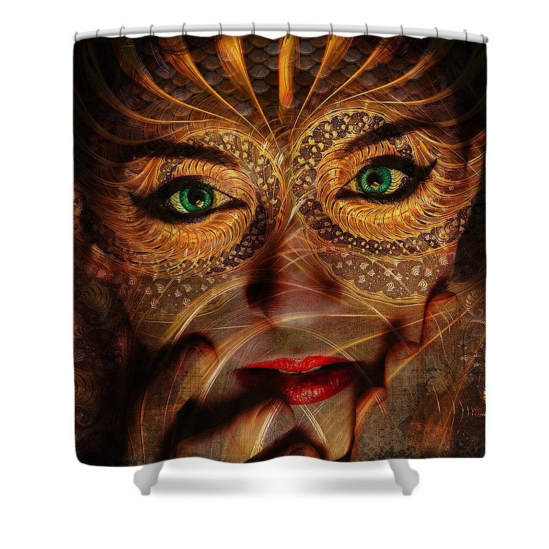 Fantasy Shower Curtain featuring the digital art Burnished Gold by Laura Lipke