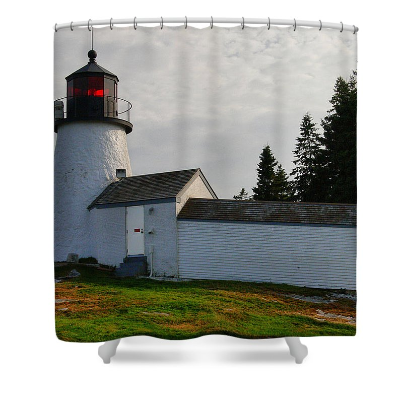 New England Lighthouse Shower Curtain featuring the photograph Burnt Island Lighthouse - The Other Side by Nancie DeMellia
