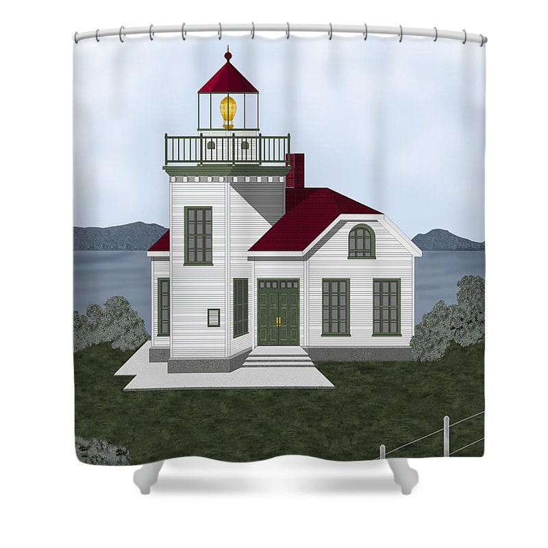 Burrows Island Lighthouse Shower Curtain featuring the painting Burrows Island Lighthouse by Anne Norskog