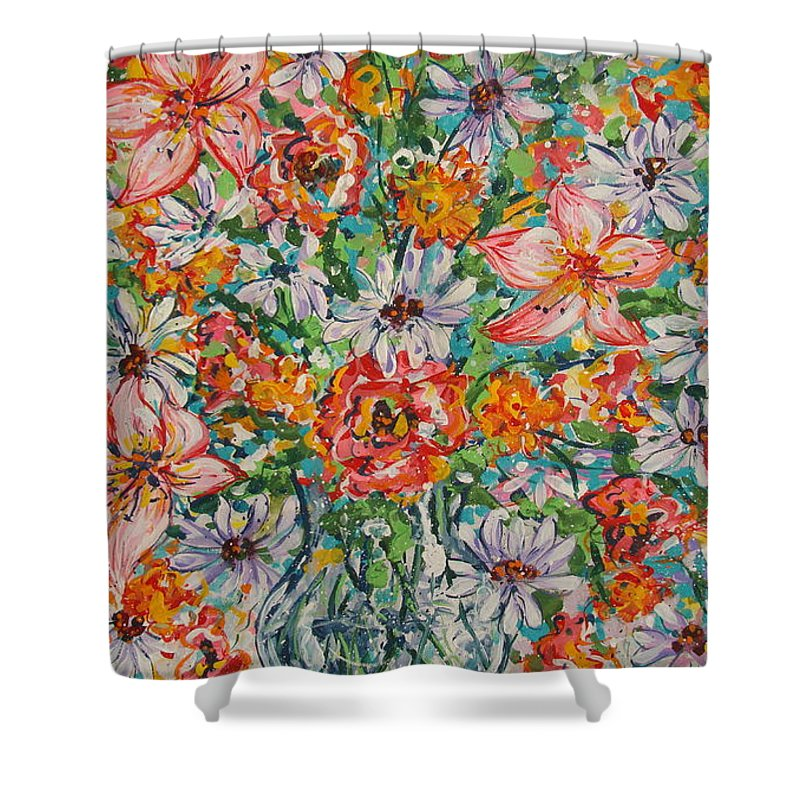 Flowers Shower Curtain featuring the painting Burst Of Flowers by Leonard Holland