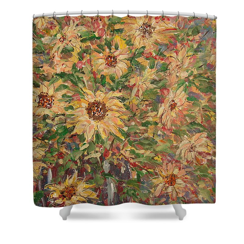 Flowers Shower Curtain featuring the painting Burst Of Sunflowers. by Leonard Holland