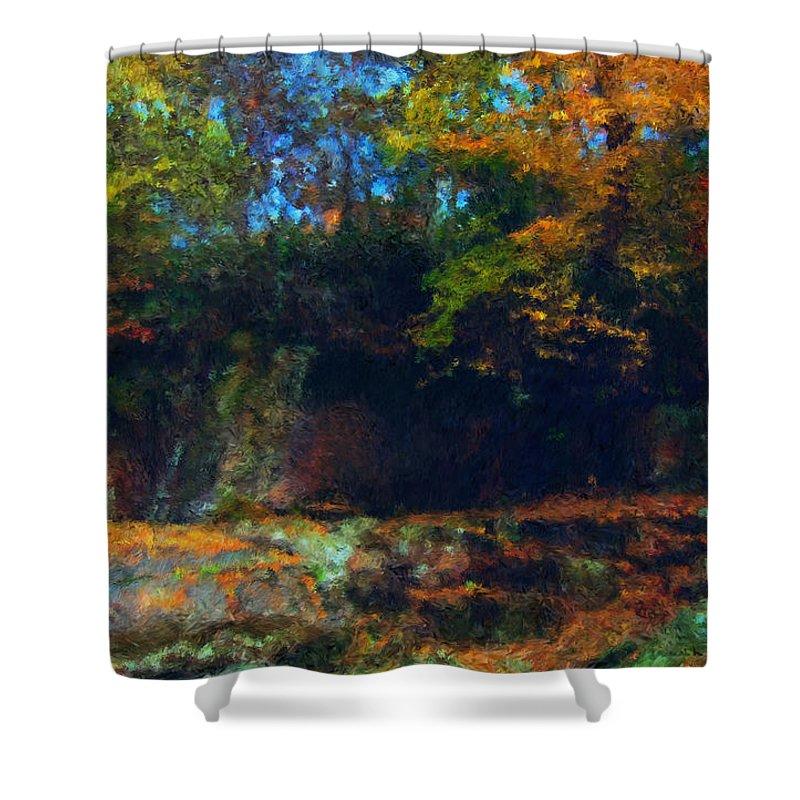 Autumn Shower Curtain featuring the digital art Bursting Autumn Cheer by Stephen Lucas