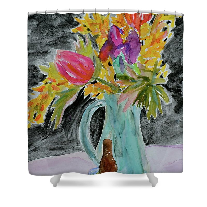 Flowers Shower Curtain featuring the painting Bursting Bouquet by Beverley Harper Tinsley