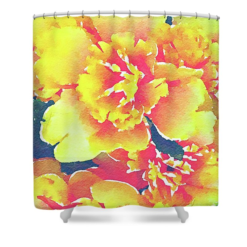 Flowers Shower Curtain featuring the painting Bursting Life by Jamie Holbrook