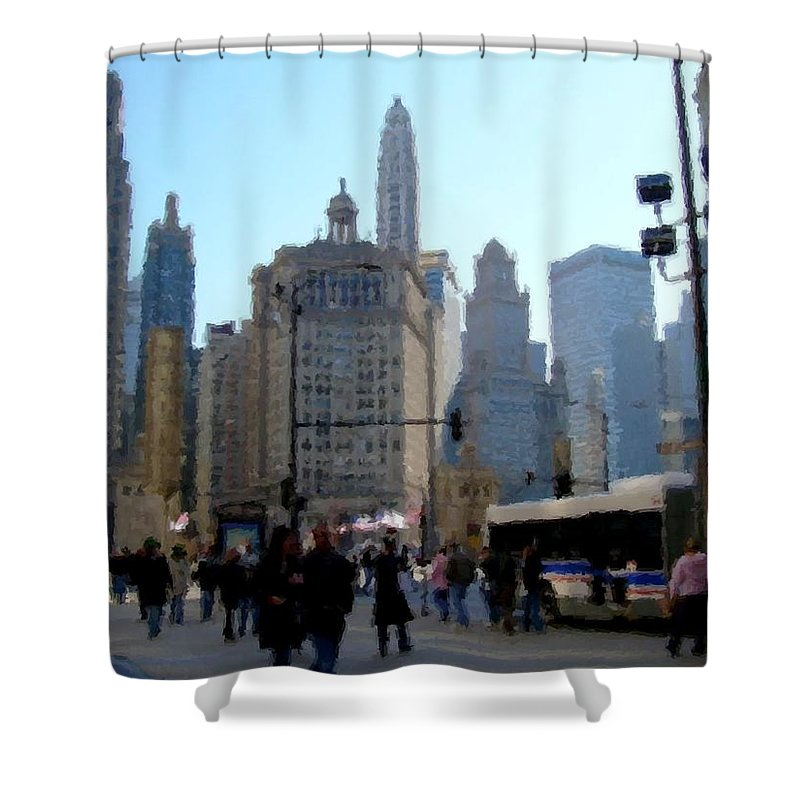 Archtecture Shower Curtain featuring the digital art Bus On Miracle Mile by Anita Burgermeister