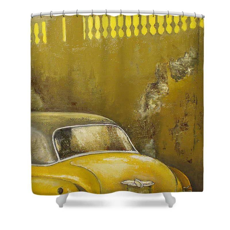 Havana Shower Curtain featuring the painting Buscando La Sombra by Tomas Castano