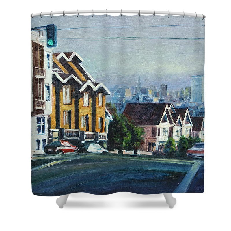 Cityscape Shower Curtain featuring the painting Bush Street by Rick Nederlof