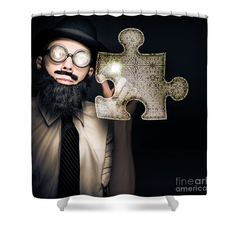 Abstract Shower Curtain featuring the photograph Businessman Puzzle Solving With Digital Solutions by Jorgo Photography - Wall Art Gallery