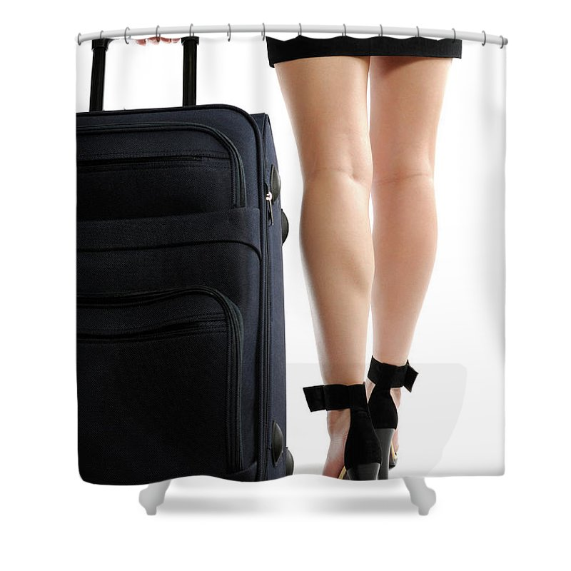 Journey Shower Curtain featuring the photograph Businesswoman With A Trunk by Oleksiy Maksymenko