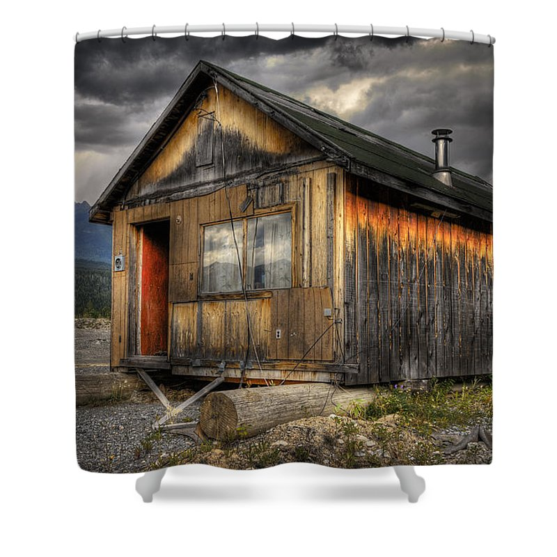 Architecture Shower Curtain featuring the photograph Busted Shack by Wayne Sherriff