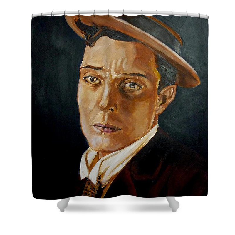 Comedy Shower Curtain featuring the painting Buster Keaton Tribute by Bryan Bustard