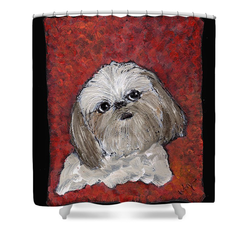 Dog Shower Curtain featuring the painting Buster by Wayne Potrafka