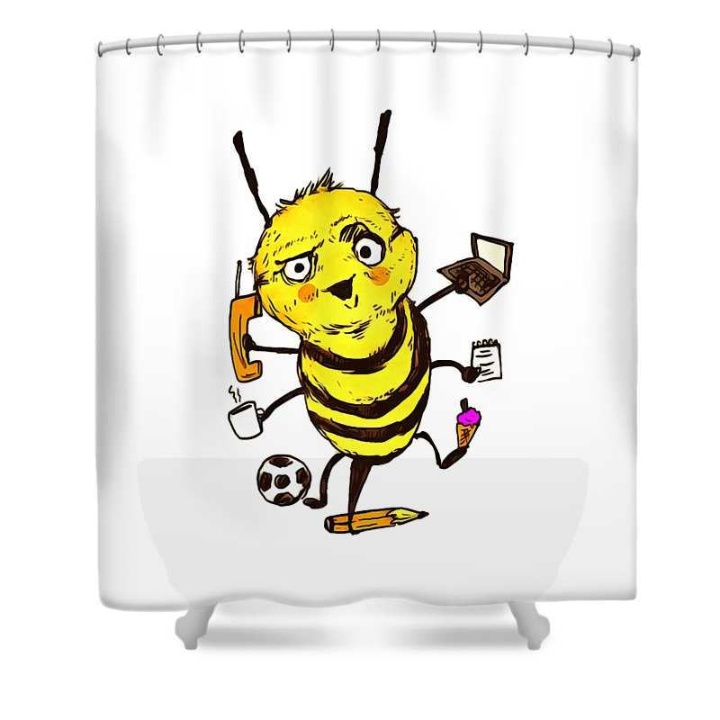 Busy As A Bee Shower Curtain Featuring The Drawing By Jandi Joe