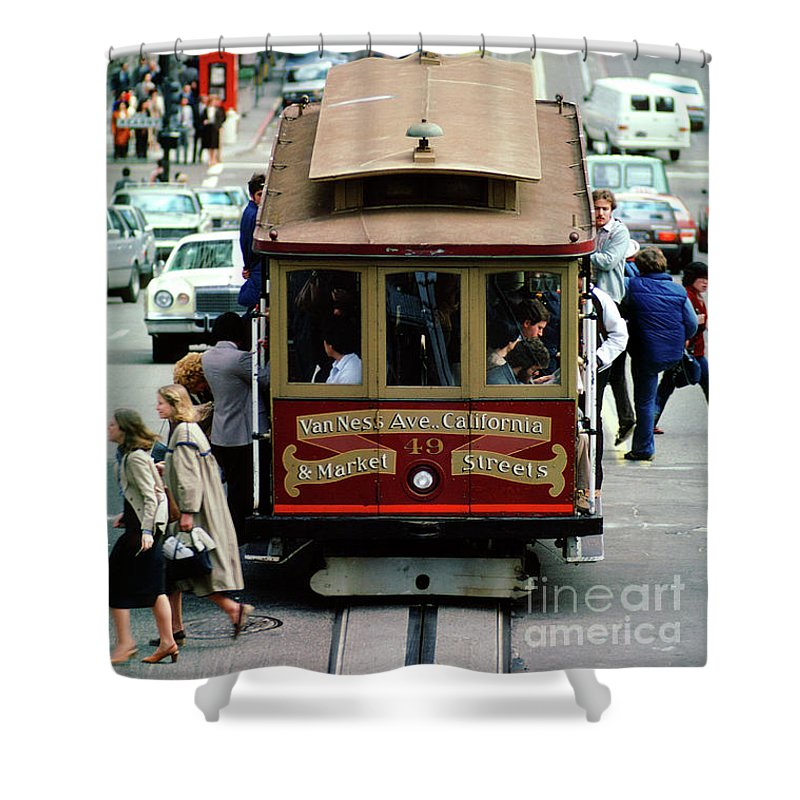 Steep Shower Curtain featuring the photograph Busy Day On The California Street Cable Car Incline by Wernher Krutein