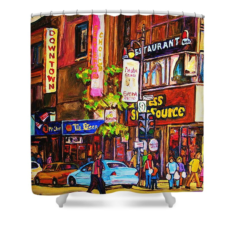 Cityscape Shower Curtain featuring the painting Busy Downtown Street by Carole Spandau