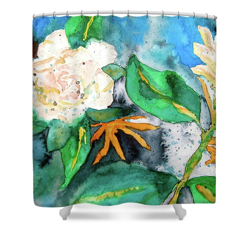 Gardenias Shower Curtain featuring the painting Busy Gardenias by Beverley Harper Tinsley