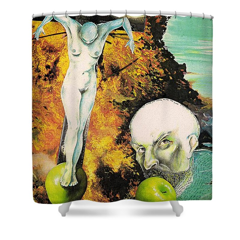 Lust Temptation Crucifix Hell Inferno Heaven Water Woman Sex Lust Apple Fire Shower Curtain featuring the mixed media But For Lust... by Veronica Jackson