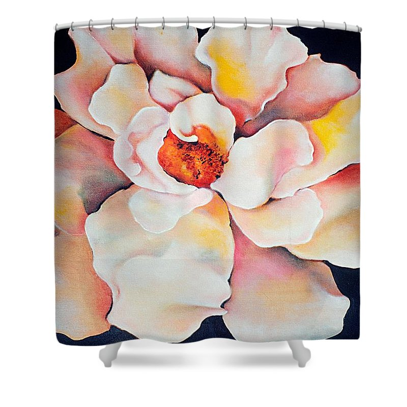 Large Floral Shower Curtain featuring the painting Butter Flower by Jordana Sands