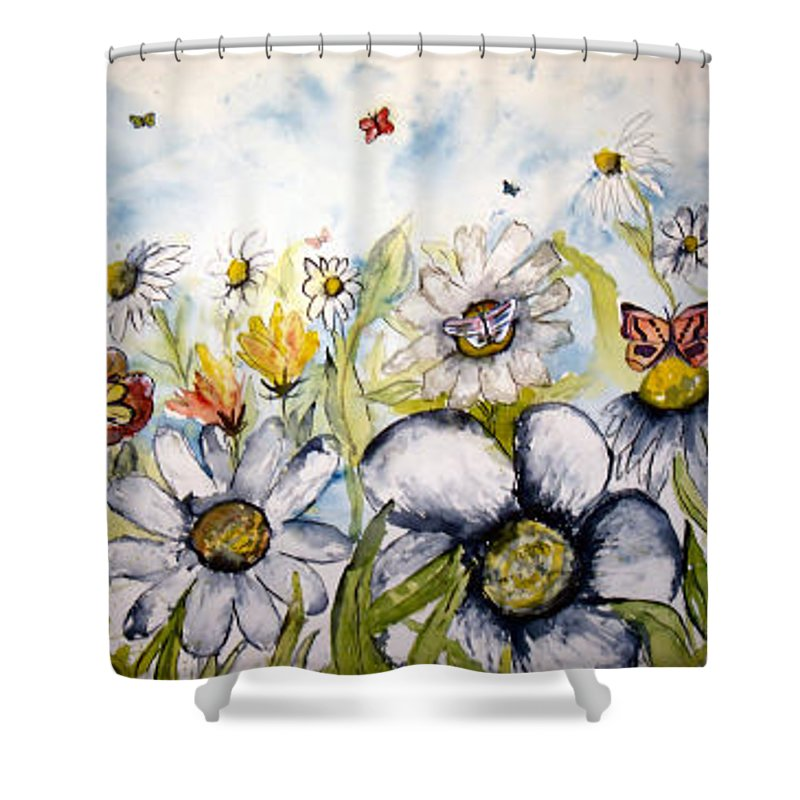Butterfly Shower Curtain featuring the painting Butterflies And Flowers by Derek Mccrea