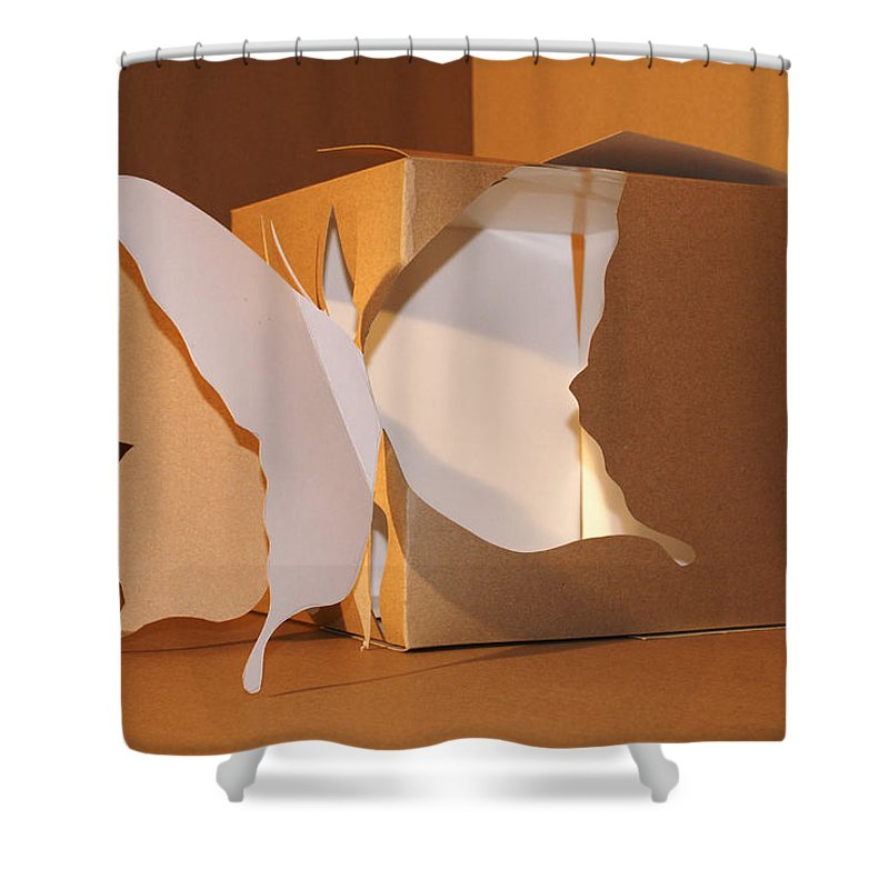 Mr Roboman Shower Curtain featuring the sculpture Butterfly 3 by Mr ROBOMAN