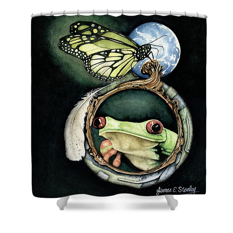 Watercolor Shower Curtain featuring the painting Butterfly And Frog by James Stanley