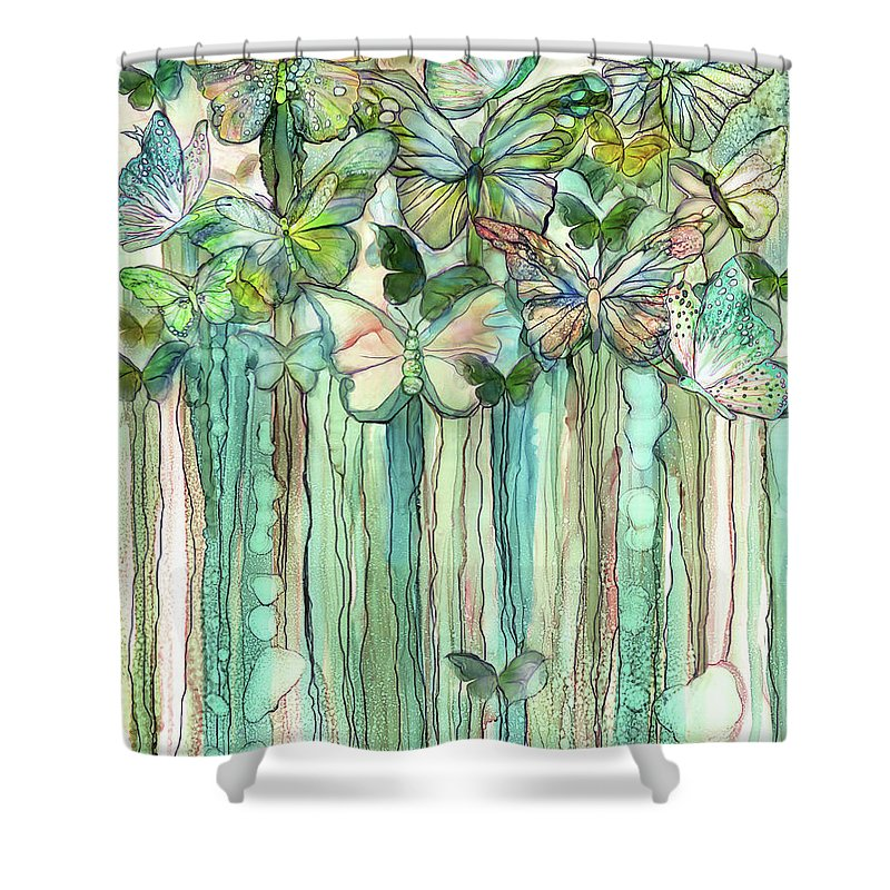Carol Cavalaris Shower Curtain Featuring The Mixed Media Butterfly Bloomies  1   Peach By Carol Cavalaris