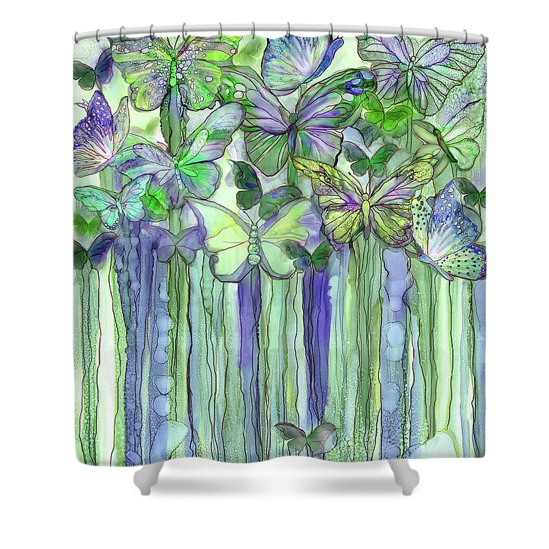 Carol Cavalaris Shower Curtain featuring the mixed media Butterfly Bloomies 1 - Purple by Carol Cavalaris
