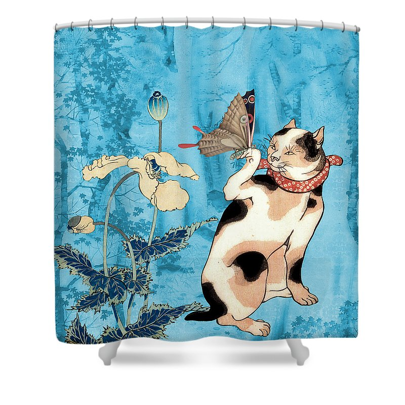 Japanese Art Shower Curtain featuring the painting Butterfly Charmer by Laura Botsford