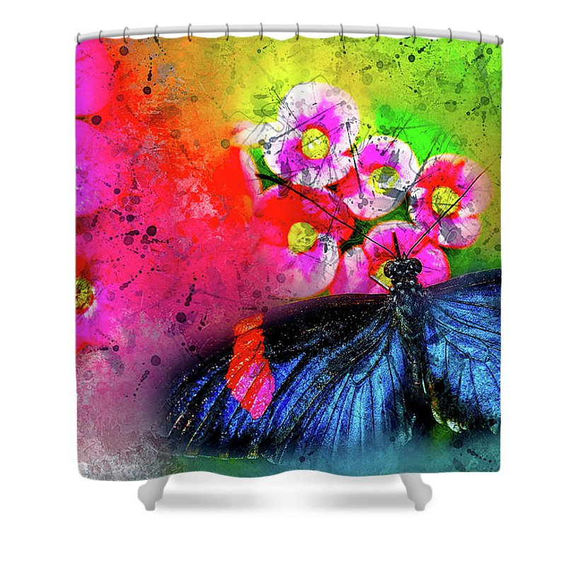 Abstract Shower Curtain featuring the photograph Butterfly Color Explosion by Kay Brewer
