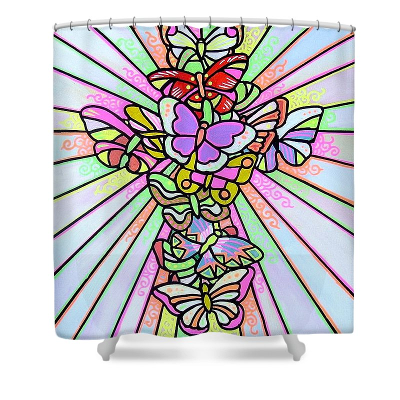 Cross. Easter Shower Curtain featuring the painting Butterfly Cross by Jim Harris