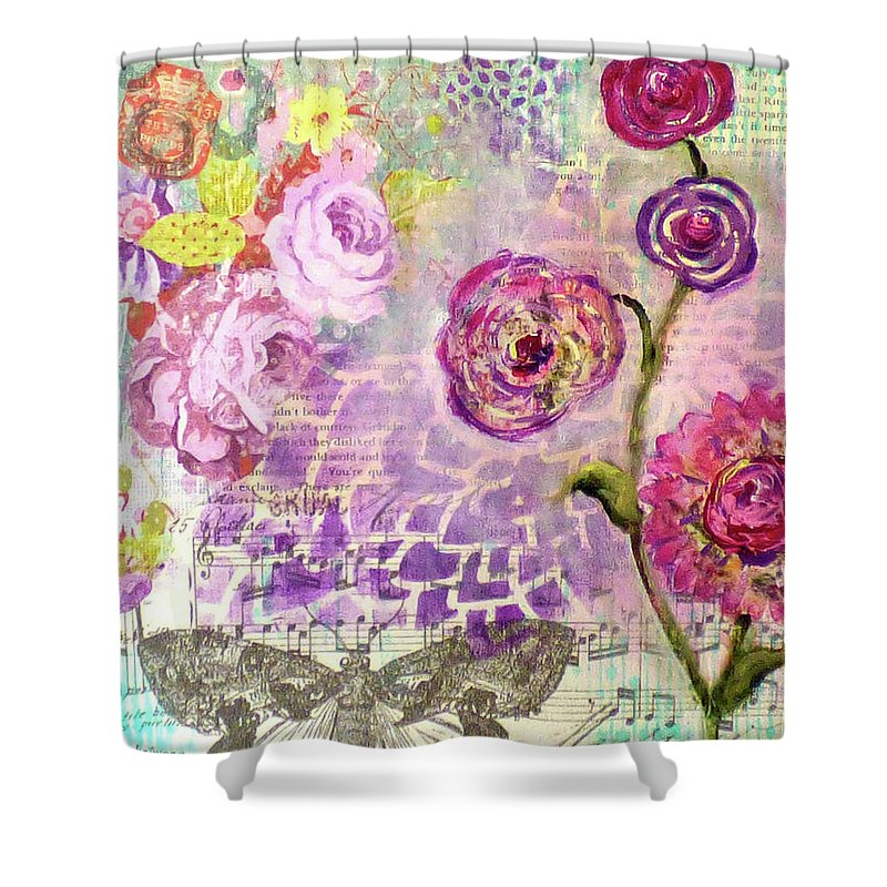 Mixed Media Shower Curtain featuring the mixed media Butterfly Dream by Cheryl Fee