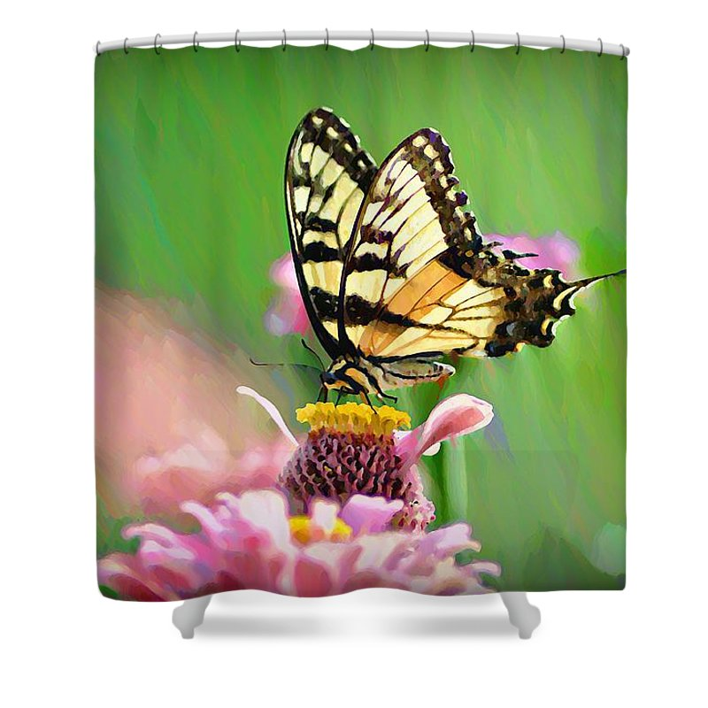 Butterfly Shower Curtain featuring the photograph Butterfly In Summer by Bill Cannon