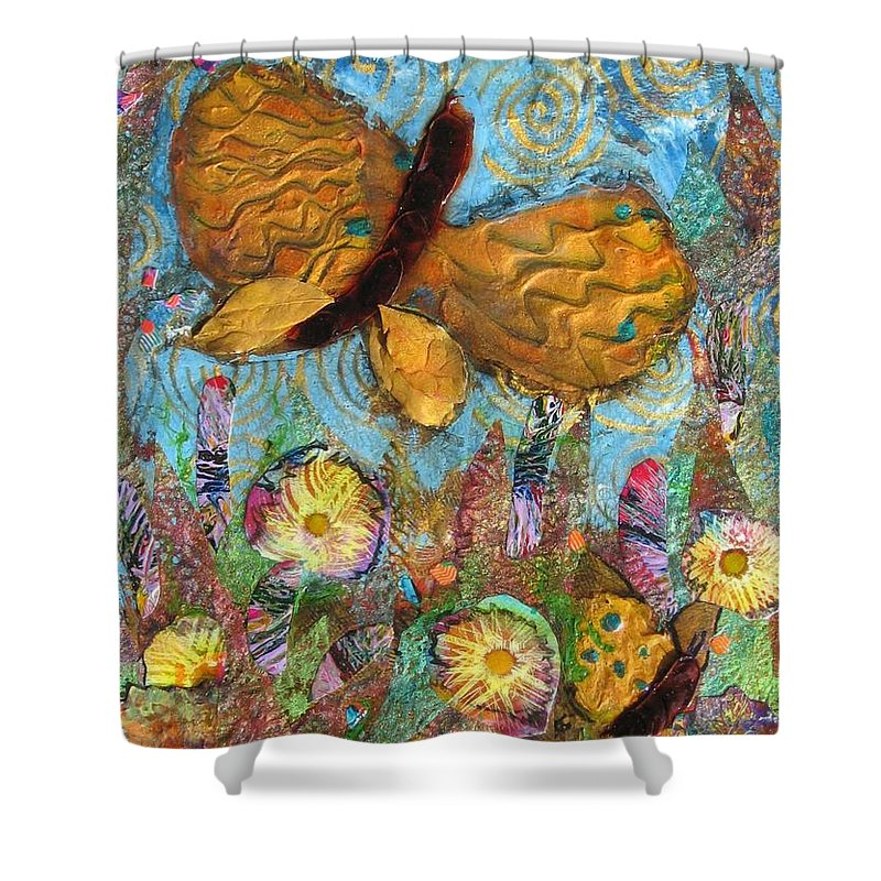 Acrylic Shower Curtain featuring the mixed media Butterfly Meadow by Maria Watt