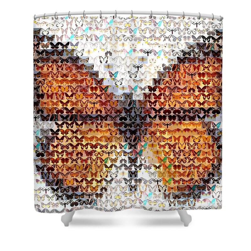 Insect Shower Curtain featuring the mixed media Butterfly Mosaic by Paul Van Scott