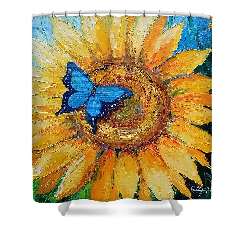 Butterfly On Sunflower Shower Curtain For Sale By Olha Darchuk